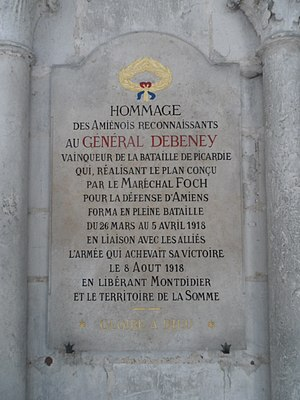 Marie-Eugène Debeney - Commemorative tablet to General Debeney in Amiens Cathedral