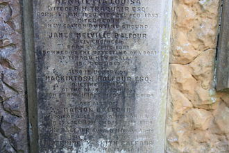 James Balfour (engineer) - Memorial to James Melville Balfour in the Balfour vault, Colinton churchyard
