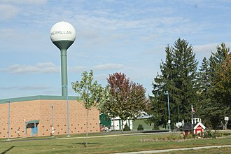 Merrillan, Wisconsin - Image: Merrillan Wisconsin Water Tower WIS95