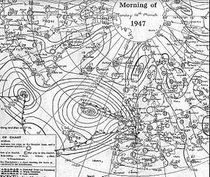 Winter of 1946–47 in the United Kingdom - Milder air moving over the UK on 10 March