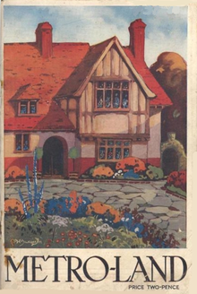 "A painting of a half-timbered house set behind a drive and flower garden. Below the painting the title ""METRO-LAND"" is in capitals and in smaller text is the price of two-pence."