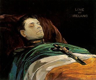 Flag of Ireland - Michael Collins lying in state by John Lavery showing the green of the flag towards the head