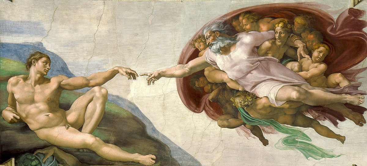 A photo of Michelangelo's Creation of Adam painting - a man (Adam), lies reclined on the left side with his arm extended out, and on the right, God (a white man) descends on a billowing cloud, surrounded by angels, and reaches out to touch Adam's outstretched hand.