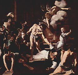 Το Μαρτύριο του Αγίου Ματθαίου, 323x343 εκ., 1599-1600, San Luigi dei Francesi.
