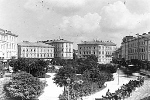 Mickiewicz Square - The southern side of the square at the beginning of the 20th century