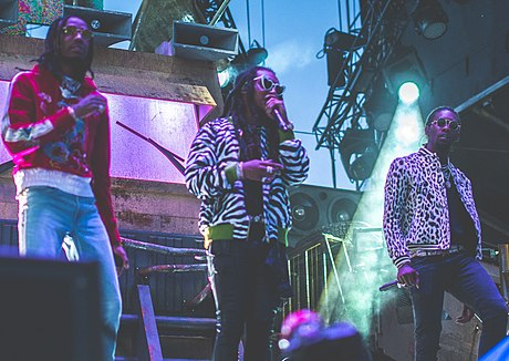 Migos performing in August 2017. Migos Veld festival 2017.jpg