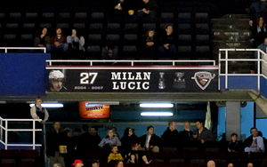 Milan Lucic - Lucic's banner in the Giants' Ring of Honour