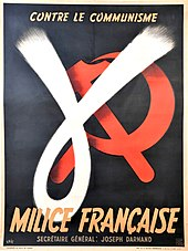 Maroon poster, with white Greek letter gamma covering red hammer and sickle