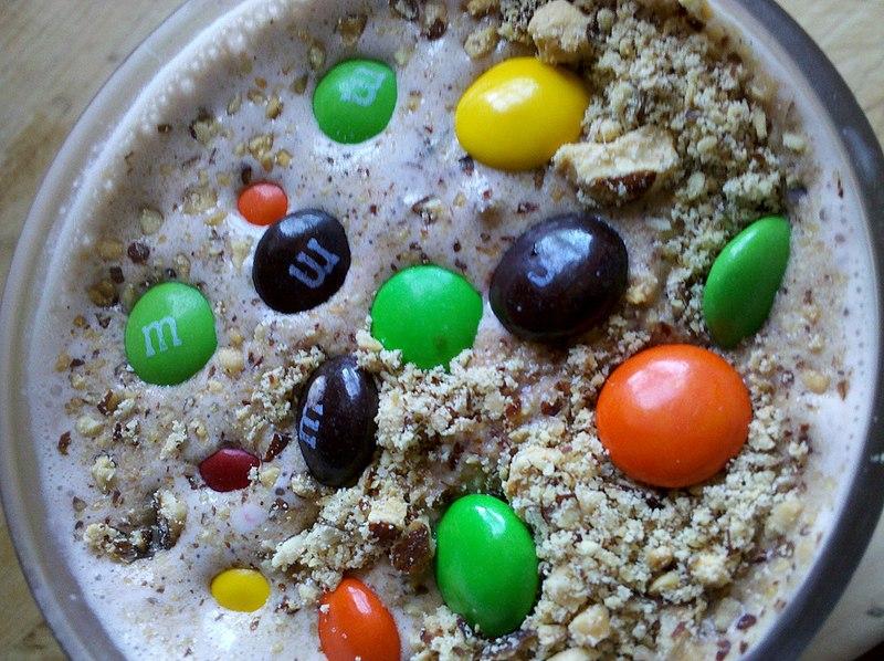 File:Milkshake toppings - M&Ms and crushed almonds.jpg