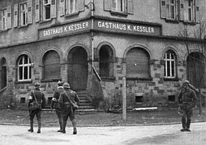 Saar Offensive - French soldiers in front of a guesthouse in Lauterbach, during September 1939