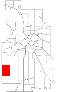 Location of Linden Hills within the U.S. city of Minneapolis