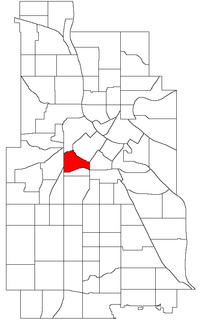 Location of the Loring Park neighborhood within the U.S. city of Minneapolis