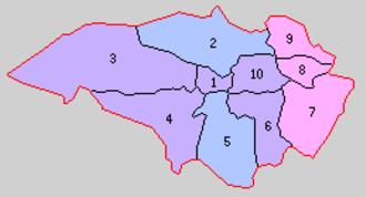 Kurokawa District, Miyagi - 1. Yoshioka; 2. Ōhira; 3. Yoshida; 4. Miyatoko; 5. Tomiya; 6. Tsurusu; 7. Ōya; 8. Kasukawa; 9. Ōmatsuzawa;10. Ochiai  Purple = Taiwa Town; Pink= Shikama Town; Pink = Ōsato Town; Blue = no change