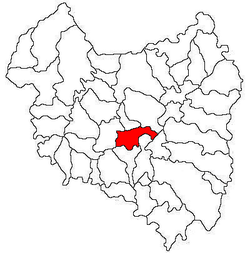 Location of Moacșa in the Covasna county, Romania