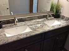A Modern, Granite Bathroom Countertop With Sinks, USA
