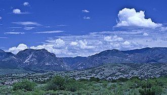U.S. Route 180 - View of the Mogollon Mountains from Leopold Vista between Alpine and Silver City.