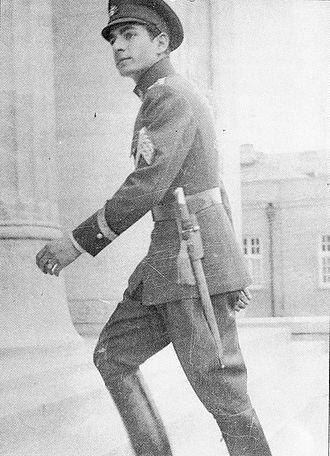 Mohammad Reza Pahlavi - Mohammad Reza entering Madrasa Nezam, a military school in Tehran (1938)