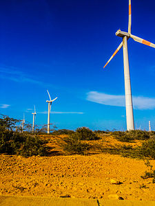 Jepirachi wind farm in the Guajira Peninsula. Molino de viento (moderno) 2014-09-21 (3).jpg