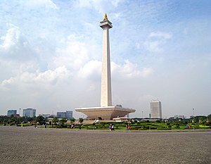 Merdeka - The National Monument stands in the middle of Medan Merdeka or Independence Square, Jakarta.