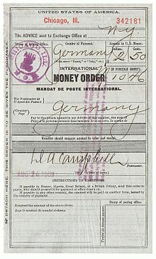 United States Edit An International Money Order