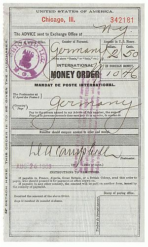 Money order - An international money order issued in Chicago for encashment in Germany.