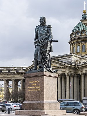 Michael Andreas Barclay de Tolly - Statue of Barclay de Tolly in front of the Kazan Cathedral in St Petersburg, by Boris Orlovsky