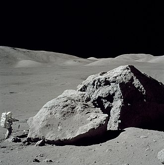 "Planetary geology - Planetary geologist and NASA astronaut Harrison ""Jack"" Schmitt collecting lunar samples during the Apollo 17 mission in early-December 1972"