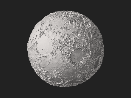 STL 3D model of the Moon with 10x elevation exaggeration rendered with data from the Lunar Orbiter Laser Altimeter of the Lunar Reconnaissance Orbiter Moon elevation 2.stl