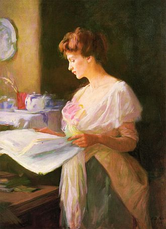 "Ellen Day Hale - Morning News, 1905, oil on canvas (50"" x 36"")"