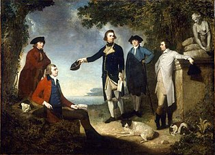 Mortimer - Captain James Cook, Sir Joseph Banks, Lord Sandwich, Dr Daniel Solander and Dr John Hawkesworth.jpg