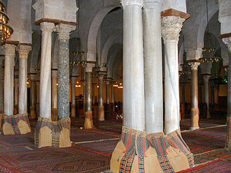 Column - Reused Roman columns and capitals in the Great Mosque of Kairouan