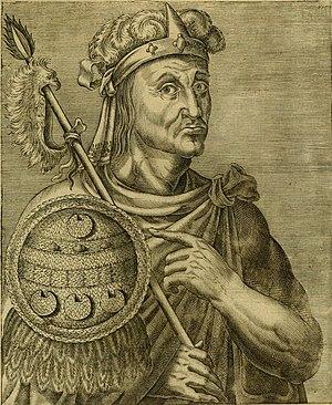 Moctezuma II - Moctezuma II, from Les vrais pourtraits et vies des hommes illustres, París 1584