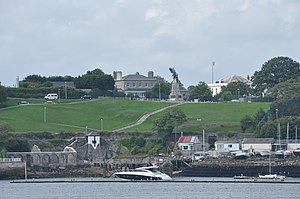 Commander-in-Chief, Plymouth - Hamoaze House, formerly Admiralty House, on Mount Wise (centre)