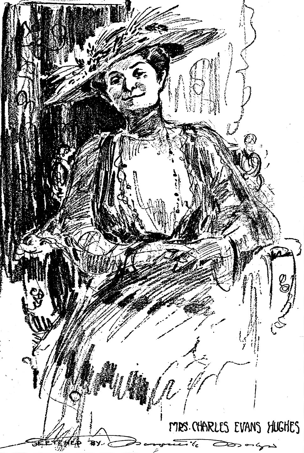 Mrs. Charles Evans Hughes as sketched by Marguerite Martyn, 1916