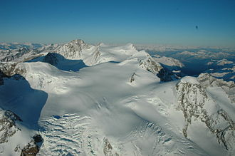 Dufourspitze - Aerial view of the Lysjoch area from the south
