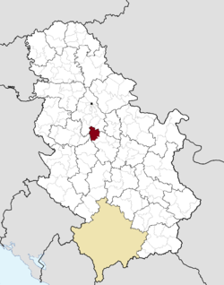 Location of the municipality of Aranđelovac within Serbia
