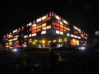 The Resistance Tour - Muse performing at Wembley Stadium using the triangular stage.