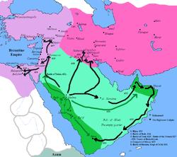 Les espaces verts et verts clairs redirigent les conquêtes musulmanes sous la houlette de Mahomet depuis la Médina islamique