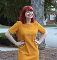 Mustard Yellow Ribbed Dress with an Apple Necklace and Red Hair (21378146321).jpg