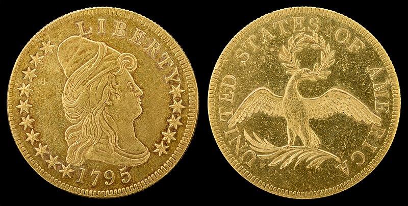 1795 Draped Bust $10 Gold coin Koin kuno emas dari negara Amerika Serikat tahun 1795