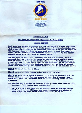 New York Golden Blades - A letter sent by the Golden Blades to Philadelphia Blazers season ticket holders after Blazers moved to Vancouver, seeking to entice them to buy Blades season tickets. (The letter also mentions a potential move to the Meadowlands, where the New Jersey Devils would play a decade later.) Ironically, the team would move mid-season to the Cherry Hill Arena, barely a dozen miles from where the Blazers had played.