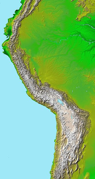 Andean orogeny - Topographic map of the Andes by the NASA. The southern and northern ends of the Andes are not shown. The Bolivian Orocline is visible as a bend in the coastline and the Andes lower half of the map.