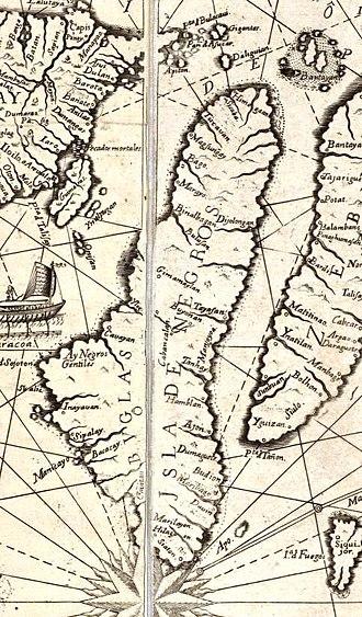 """Negros Island - Negros Island (""""Buglas"""") as depicted in the Carta Hydrographica y Chorographica de las Yslas Filipinas (1734)"""