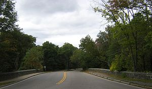 Neponset Valley Parkway - Looking over Paul's Bridge from Milton into Boston.