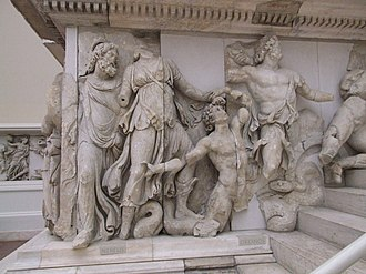 Ancient Greek art - The Hellenistic Pergamon Altar: l to r Nereus, Doris, a Giant, Oceanus