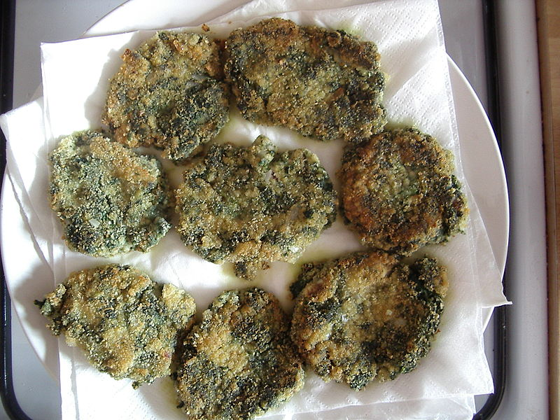 Nettle and millet fritters.