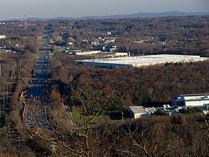 Interstate 87 (New York) - Looking east along I-87 toward the Tappan Zee Bridge from Nordkop Mountain in Suffern