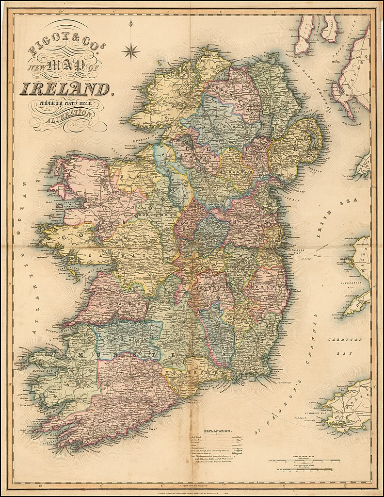 Map Of Ireland 2100.File New Map Of Ireland 1840 By Pigot Co Jpg Wikimedia Commons