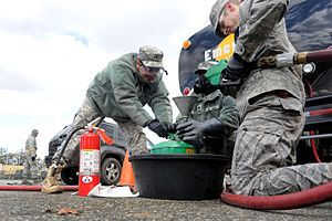 New York Army National Guard - Guardsmen distribute fuel at the Staten Island Armory to those in the local area affected by Hurricane Sandy.