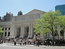 Facade of the New York Public Library Main Branch building, which replaced the Lenox Library